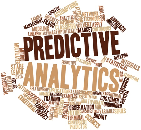 Abstract word cloud for Predictive analytics with related tags and terms photo