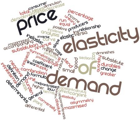 elasticidad: Nube de palabras Resumen de la elasticidad precio de la demanda con las etiquetas y términos relacionados Foto de archivo