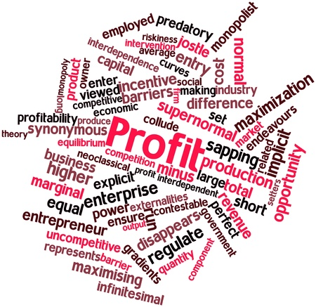 synonymous: Abstract word cloud for Profit with related tags and terms Stock Photo