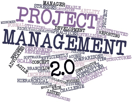 Abstract word cloud for Project management 2.0 with related tags and terms photo