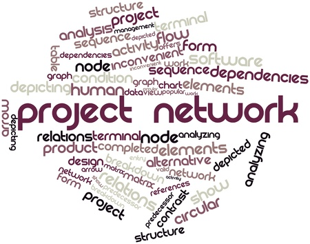 Abstract word cloud for Project network with related tags and terms Stock Photo - 15995688