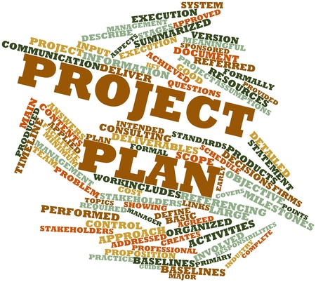 deliverables: Abstract word cloud for Project plan with related tags and terms