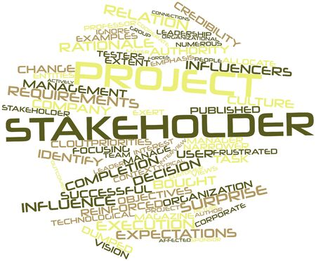 Abstract word cloud for Project stakeholder with related tags and terms
