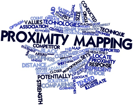 correlated: Abstract word cloud for Proximity mapping with related tags and terms Stock Photo