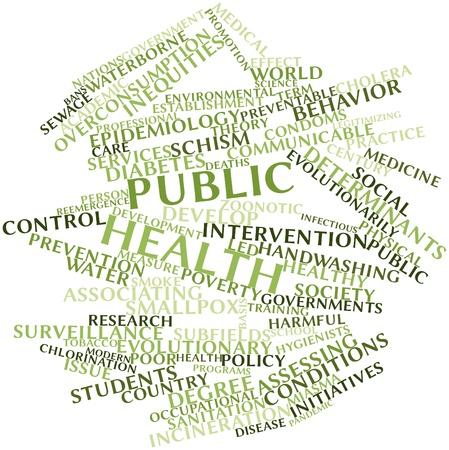 salud publica: Nube palabra abstracta para la salud pública con las etiquetas y términos relacionados Foto de archivo