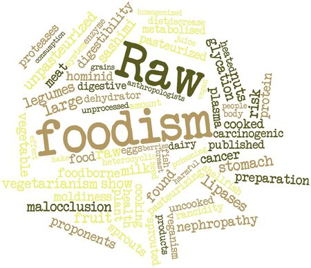hominid: Abstract word cloud for Raw foodism with related tags and terms