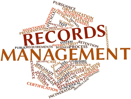 Abstract word cloud for Records management with related tags and terms