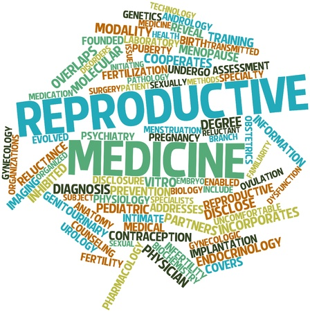 initiating: Abstract word cloud for Reproductive medicine with related tags and terms Stock Photo
