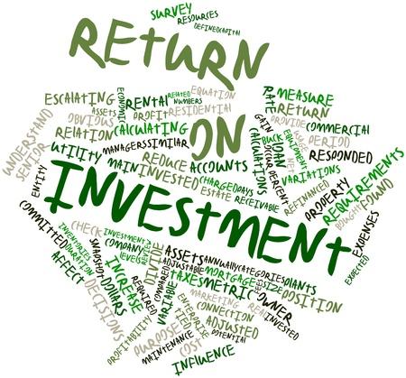rendement: Abstract woordwolk voor Return on investment met gerelateerde tags en voorwaarden