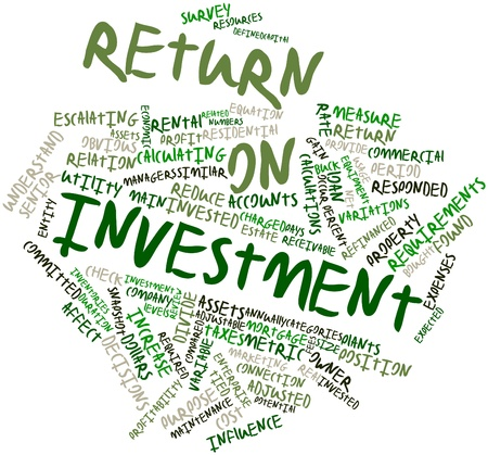 adjusted: Abstract word cloud for Return on investment with related tags and terms Stock Photo