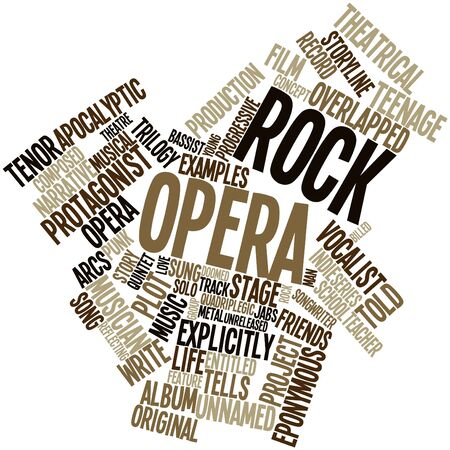 songwriter: Abstract word cloud for Rock opera with related tags and terms