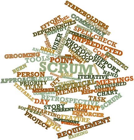 identify: Abstract word cloud for Scrum with related tags and terms Stock Photo