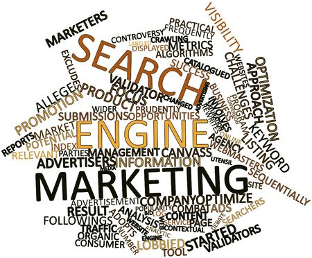Abstract word cloud for Search engine marketing with related tags and terms Stok Fotoğraf