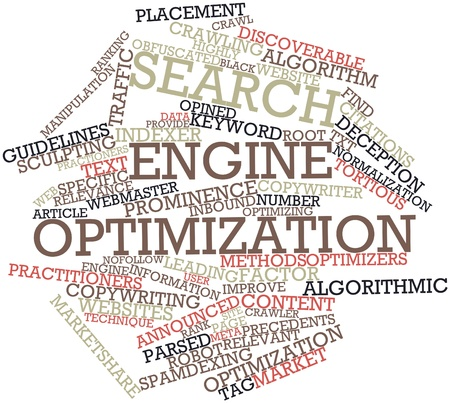 algorithmic: Abstract word cloud for Search engine optimization with related tags and terms Stock Photo