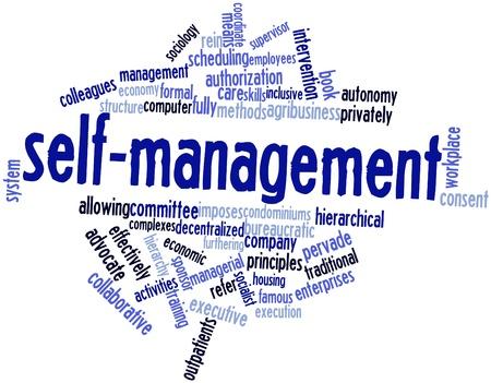 autonomia: Nube palabra abstracta para el autocuidado con las etiquetas y términos relacionados