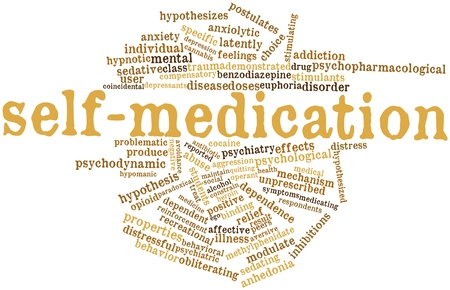 estudiantes medicina: Nube palabra abstracta para automedicación con etiquetas y términos relacionados