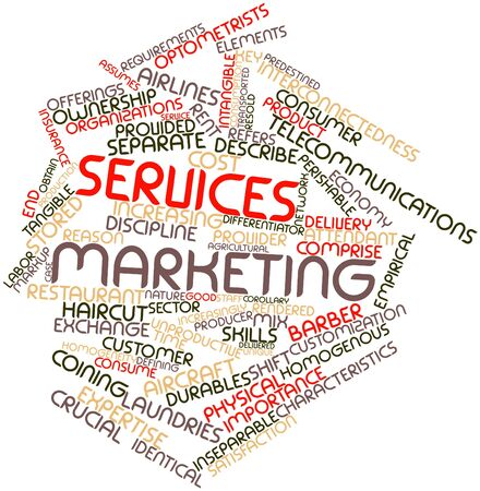 unique characteristics: Abstract word cloud for Services marketing with related tags and terms Stock Photo