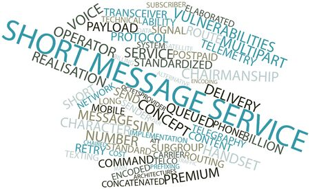 sender: Abstract word cloud for Short Message Service with related tags and terms