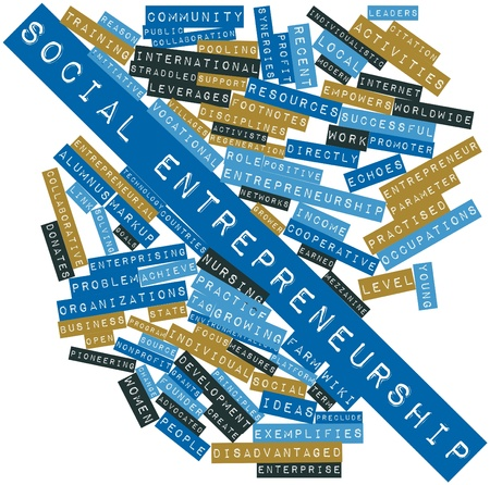 Abstract word cloud for Social entrepreneurship with related tags and terms photo