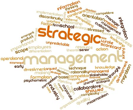 Abstract word cloud for Strategic management with related tags and terms photo