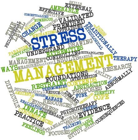 Abstract word cloud for Stress management with related tags and terms