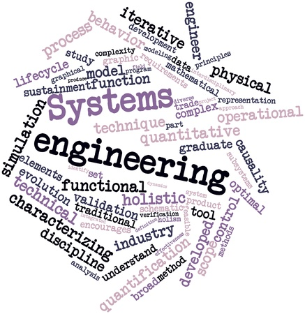 characterizing: Abstract word cloud for Systems engineering with related tags and terms Stock Photo