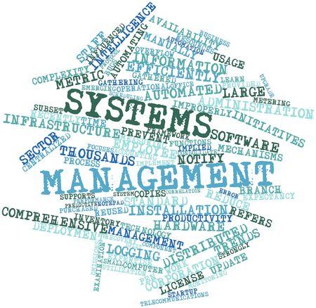 sistemas: Nube palabra abstracta para administración de sistemas con etiquetas y términos relacionados