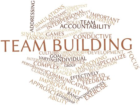 Abstract word cloud for Team building with related tags and terms