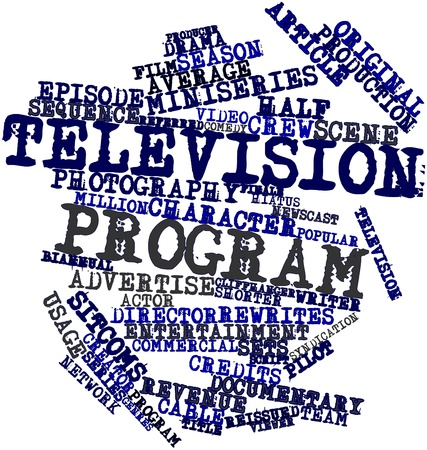 finale: Abstract word cloud for Television program with related tags and terms Stock Photo