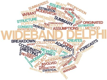 assumptions: Abstract word cloud for Wideband delphi with related tags and terms