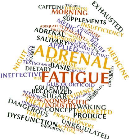 agotado: Nube palabra abstracta para la fatiga suprarrenal con etiquetas y t�rminos relacionados