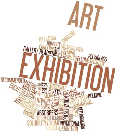 evaluative: Abstract word cloud for Art exhibition with related tags and terms Stock Photo