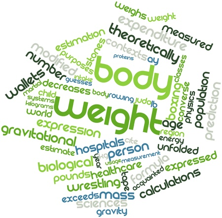 circumstances: Abstract word cloud for Body weight with related tags and terms Stock Photo