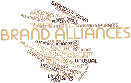 combining: Abstract word cloud for Brand alliances with related tags and terms Stock Photo