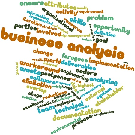 Abstract word cloud for Business analysis with related tags and terms photo