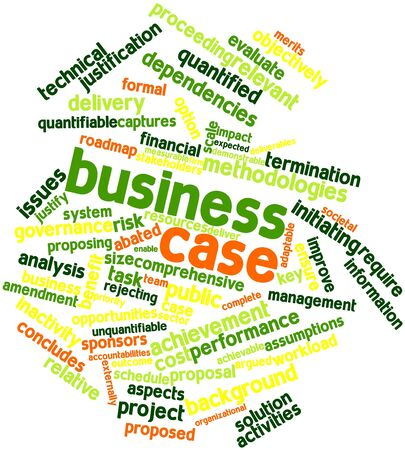 Abstract woordwolk voor Business case met bijbehorende labels en termen