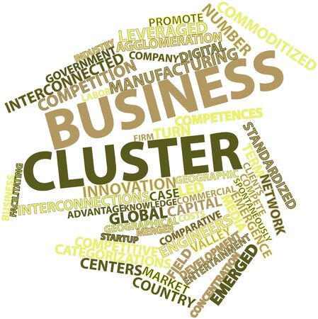 Abstract word cloud for Business cluster with related tags and terms photo