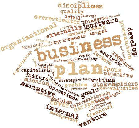 Abstract word cloud for Business plan with related tags and terms