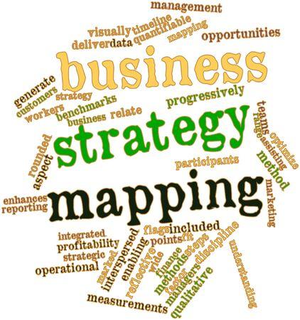 関連するタグと用語とビジネス戦略マッピングの抽象的な単語雲 写真素材