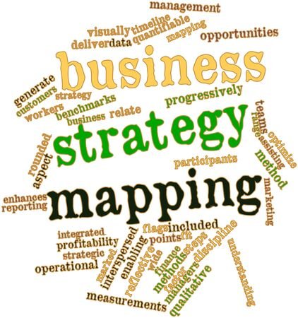 enhances: Abstract word cloud for Business strategy mapping with related tags and terms