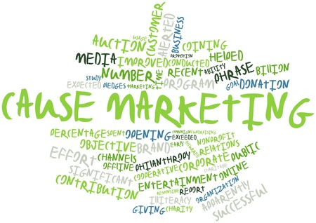 leverage: Abstract word cloud for Cause marketing with related tags and terms Stock Photo