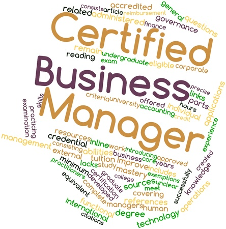reimbursement: Abstract word cloud for Certified Business Manager with related tags and terms