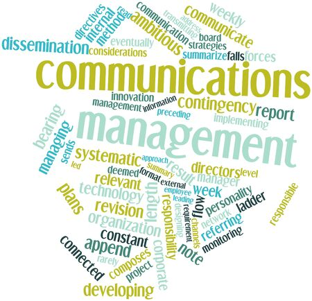 dissemination: Abstract word cloud for Communications management with related tags and terms Stock Photo