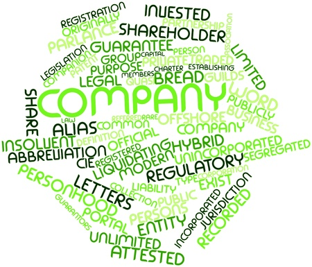 parlance: Abstract word cloud for Company with related tags and terms Stock Photo
