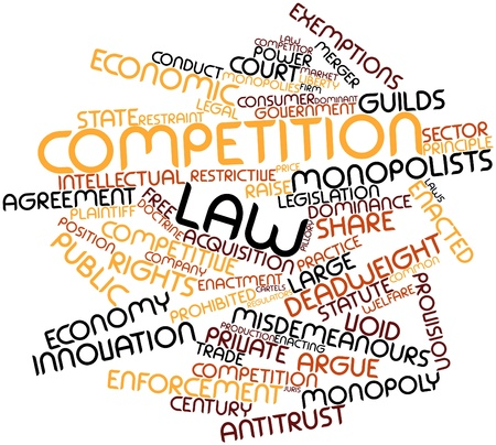 enforcement: Abstract word cloud for Competition law with related tags and terms