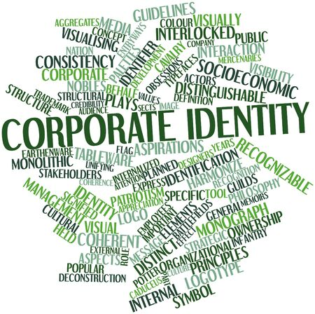 guidelines: Abstract word cloud for Corporate identity with related tags and terms Stock Photo