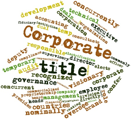 oversee: Abstract word cloud for Corporate title with related tags and terms
