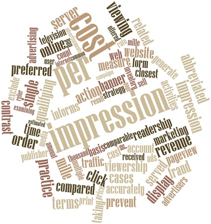 impression: Abstract word cloud for Cost per impression with related tags and terms