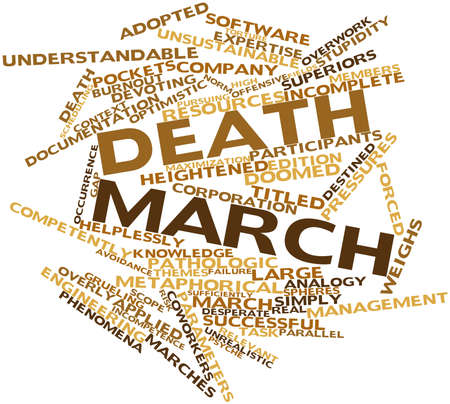 mere: Abstract word cloud for Death march with related tags and terms
