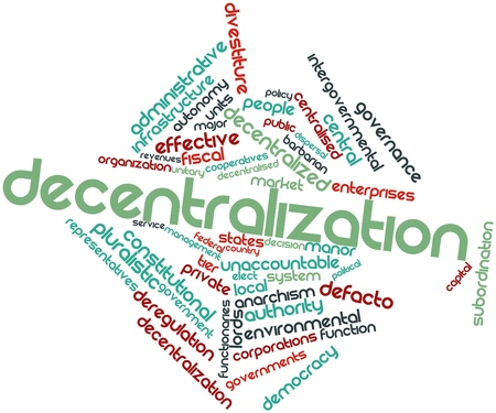 monopolies: Abstract word cloud for Decentralization with related tags and terms